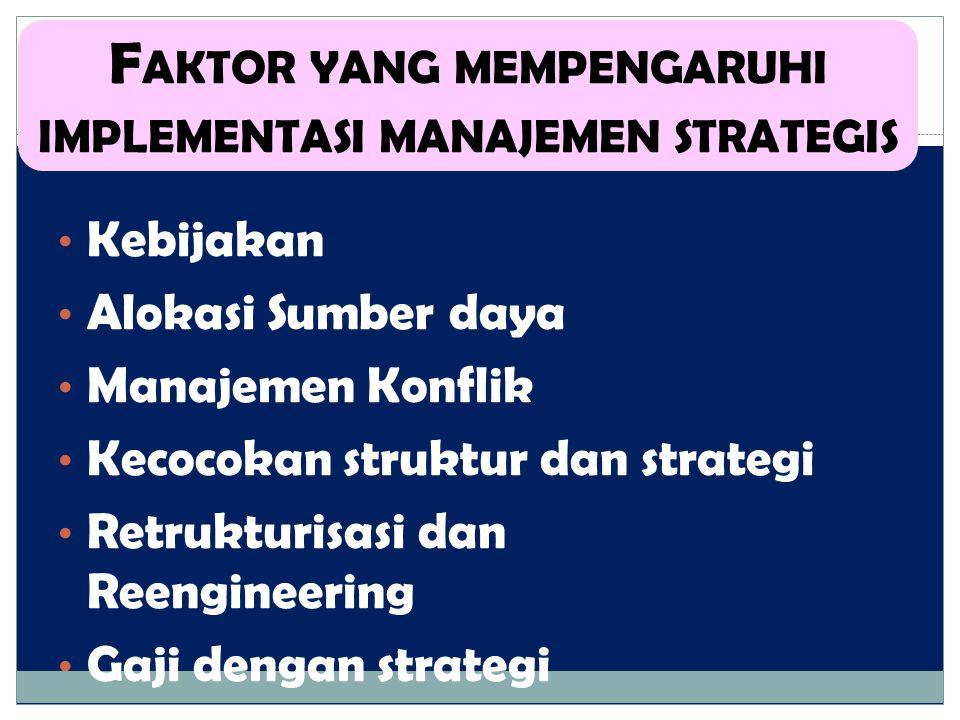 Kebijakan Alokasi Sumber daya Manajemen Konflik Kecocokan struktur dan strategi Retrukturisasi dan Reengineering Gaji dengan strategi F AKTOR YANG MEM