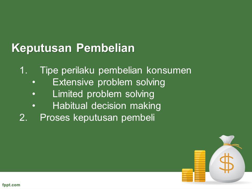1.Tipe perilaku pembelian konsumen Extensive problem solving Limited problem solving Habitual decision making 2.Proses keputusan pembeli Keputusan Pem