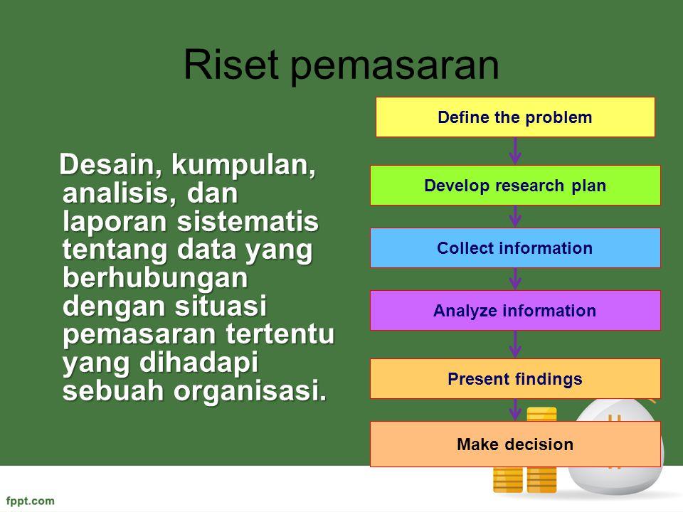Riset pemasaran Desain, kumpulan, analisis, dan laporan sistematis tentang data yang berhubungan dengan situasi pemasaran tertentu yang dihadapi sebua