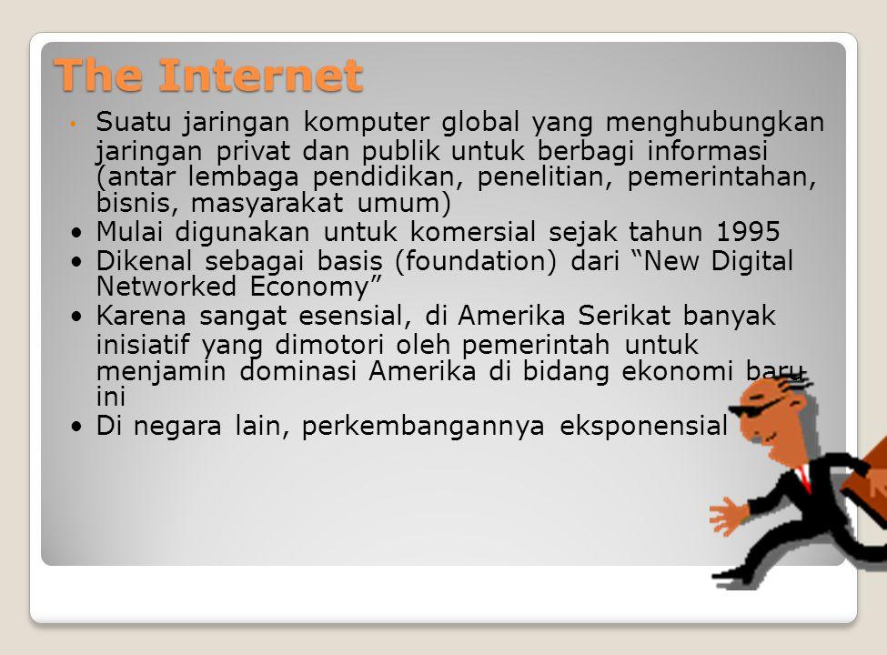 The Internet Suatu jaringan komputer global yang menghubungkan jaringan privat dan publik untuk berbagi informasi (antar lembaga pendidikan, penelitia