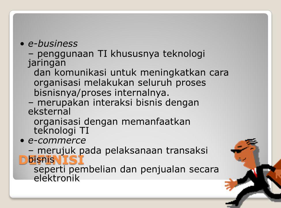 DEFINISI e-business – penggunaan TI khususnya teknologi jaringan dan komunikasi untuk meningkatkan cara organisasi melakukan seluruh proses bisnisnya/proses internalnya.