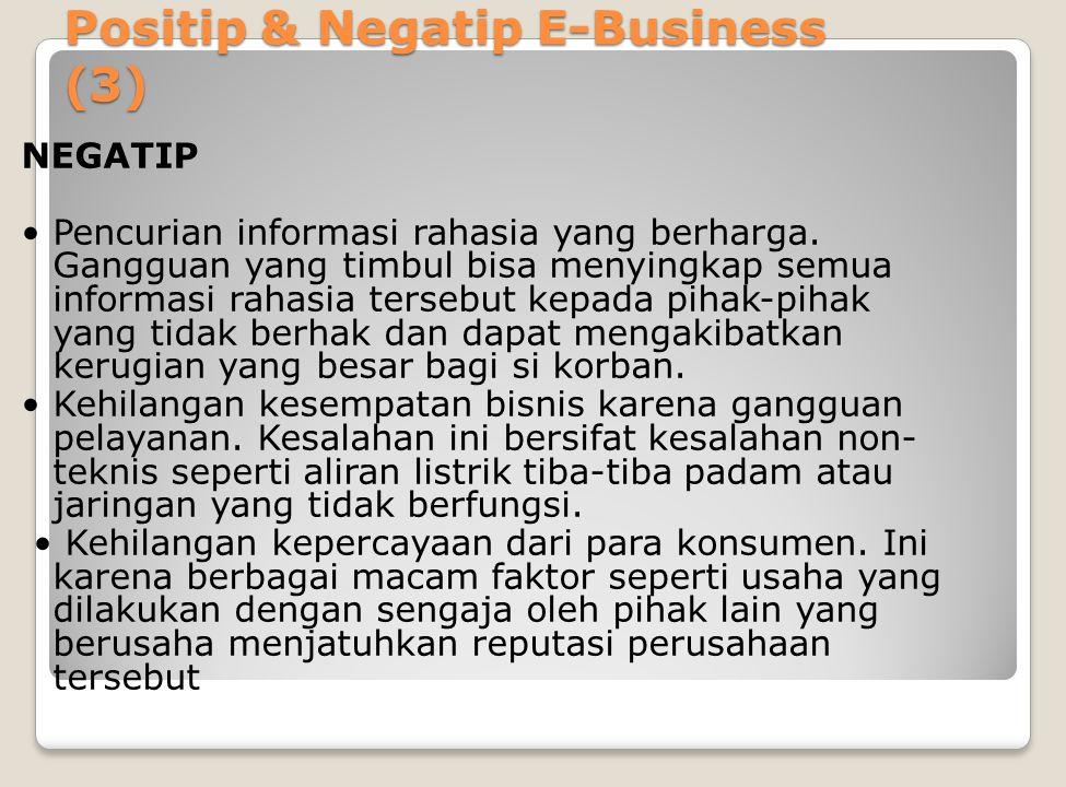 Positip & Negatip E-Business (3) NEGATIP Pencurian informasi rahasia yang berharga.