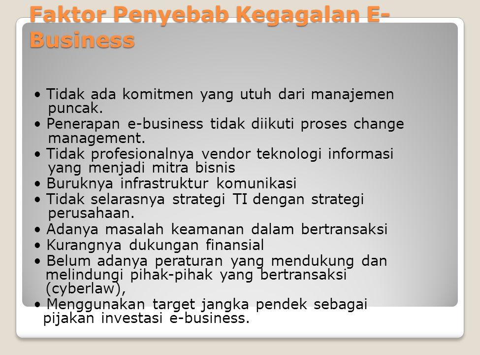 Faktor Penyebab Kegagalan E- Business Tidak ada komitmen yang utuh dari manajemen puncak. Penerapan e-business tidak diikuti proses change management.