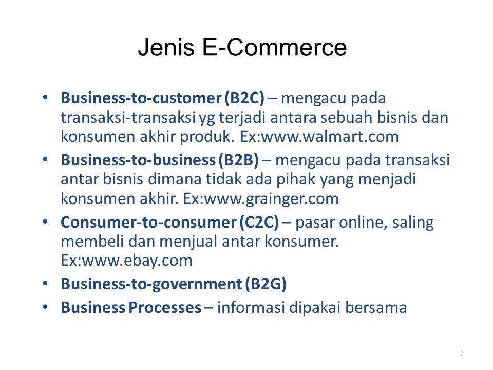 Contoh Kategori E-Commerce Anda memiliki sebuah perusahaan manufaktur komputer yang melakukan aktivitas-aktivitas berikut di Internet: – Menjual komputer kepada individu (B2C) – Bagian-bagian pembelian (Contoh : harddisk, sumber daya dan lain-lain.) dari satu pemasok (B2B) – Mempekerjakan Staf, mengelola rekening pelanggan, mengiklankan, dan lain-lain.