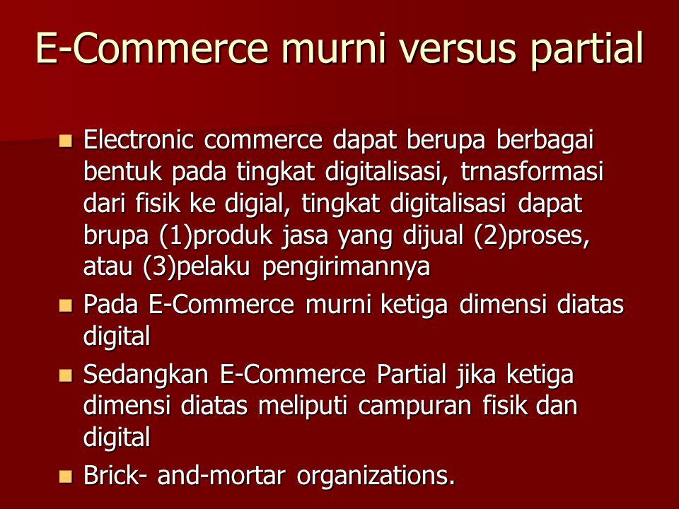 E-Commerce murni versus partial Electronic commerce dapat berupa berbagai bentuk pada tingkat digitalisasi, trnasformasi dari fisik ke digial, tingkat