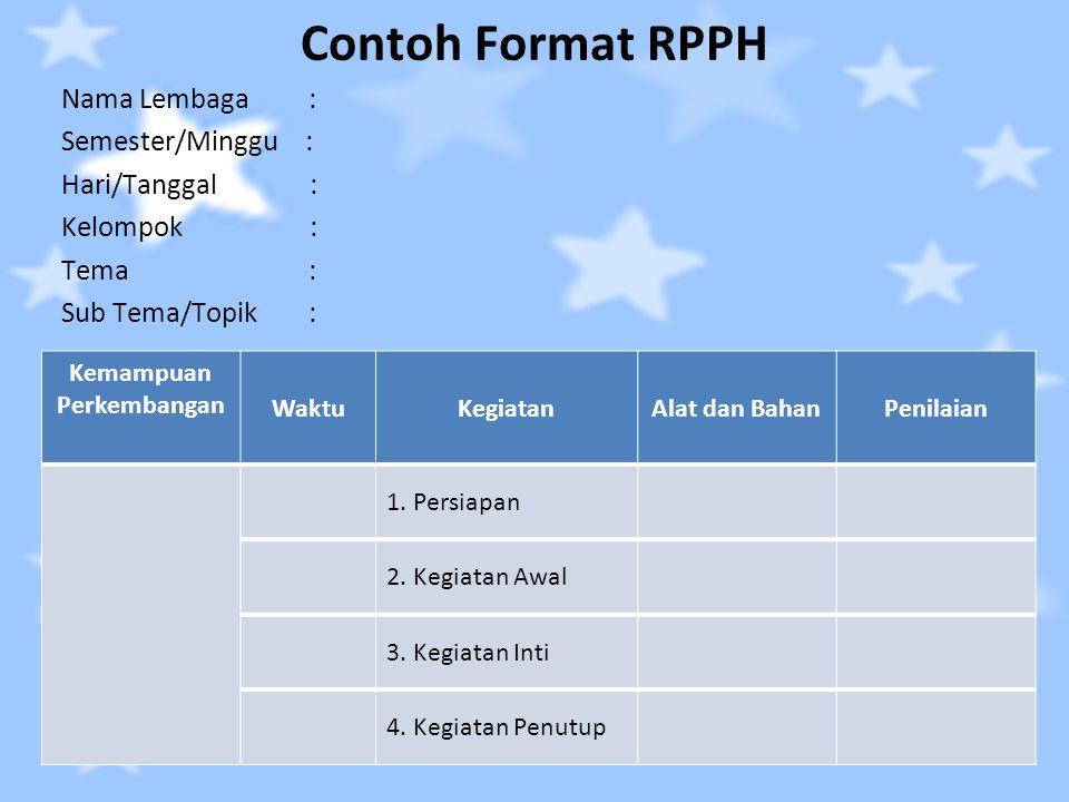 Contoh Format RPPH Nama Lembaga : Semester/Minggu : Hari/Tanggal : Kelompok : Tema : Sub Tema/Topik : Kemampuan Perkembangan WaktuKegiatanAlat dan Bah