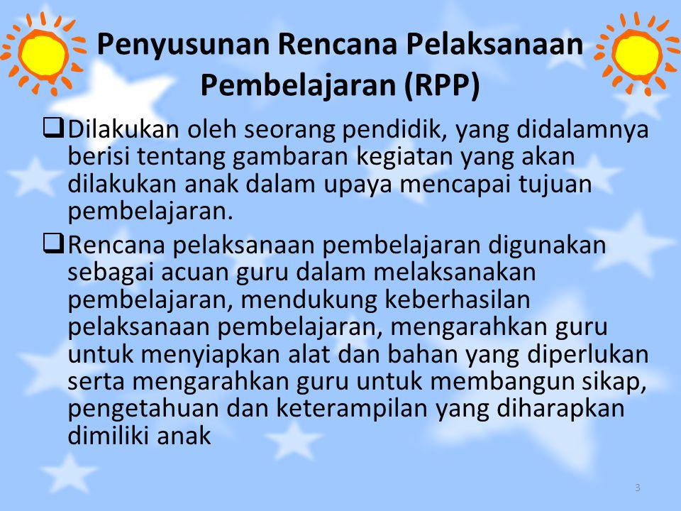 Penyusunan Rencana Pelaksanaan Pembelajaran (RPP)  Dilakukan oleh seorang pendidik, yang didalamnya berisi tentang gambaran kegiatan yang akan dilaku