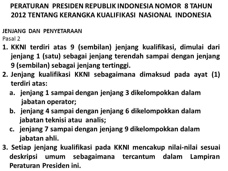 KKNI (Kerangka Kualifikasi Nasional Indonesia) KKNI (Kerangka Kualifikasi Nasional Indonesia) KKNI : kerangka penjenjangan kualifikasi kompetensi yang