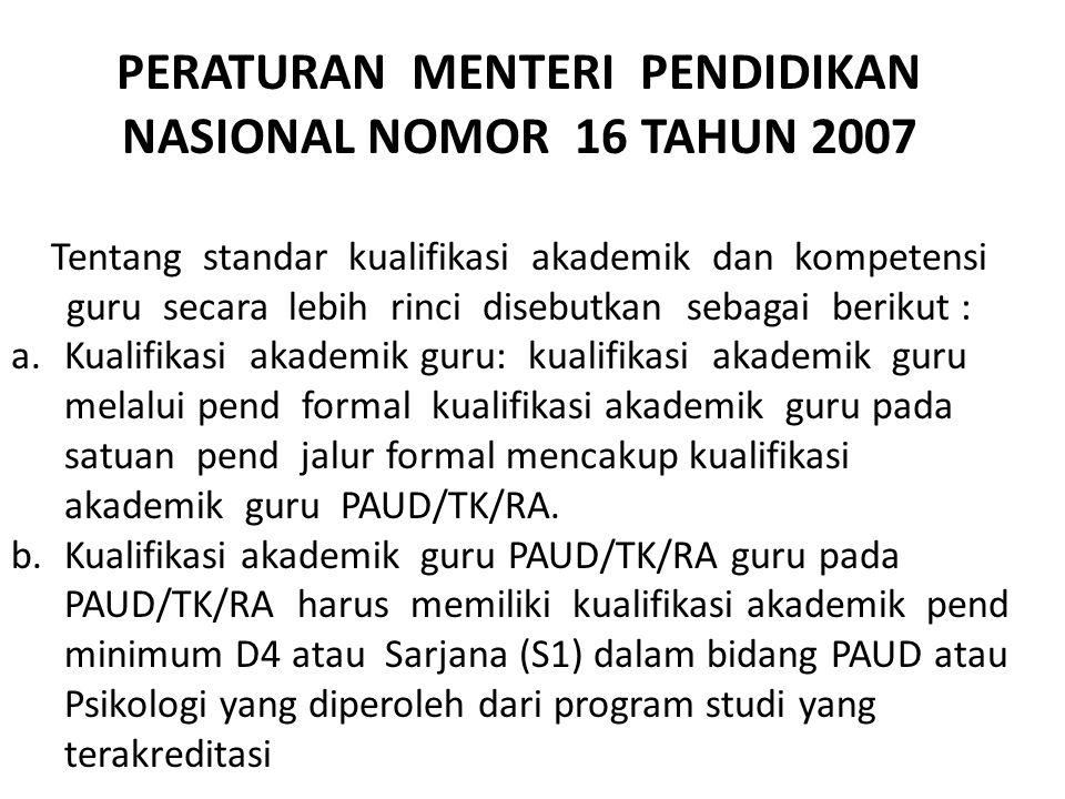 PERATURAN PEMERINTAH NOMOR 19 TAHUN 2005 Pasal 28 dalam PP (3) kompetensi sebagai agen pembelajaran pada pend dasar, menengah serta PAUD, yang meliput