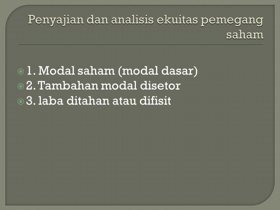  1. Modal saham (modal dasar)  2. Tambahan modal disetor  3. laba ditahan atau difisit