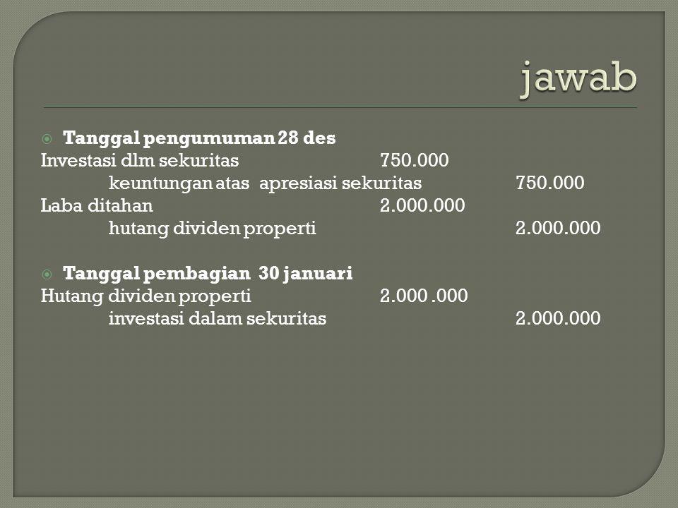  Tanggal pengumuman 28 des Investasi dlm sekuritas750.000 keuntungan atas apresiasi sekuritas750.000 Laba ditahan2.000.000 hutang dividen properti2.0