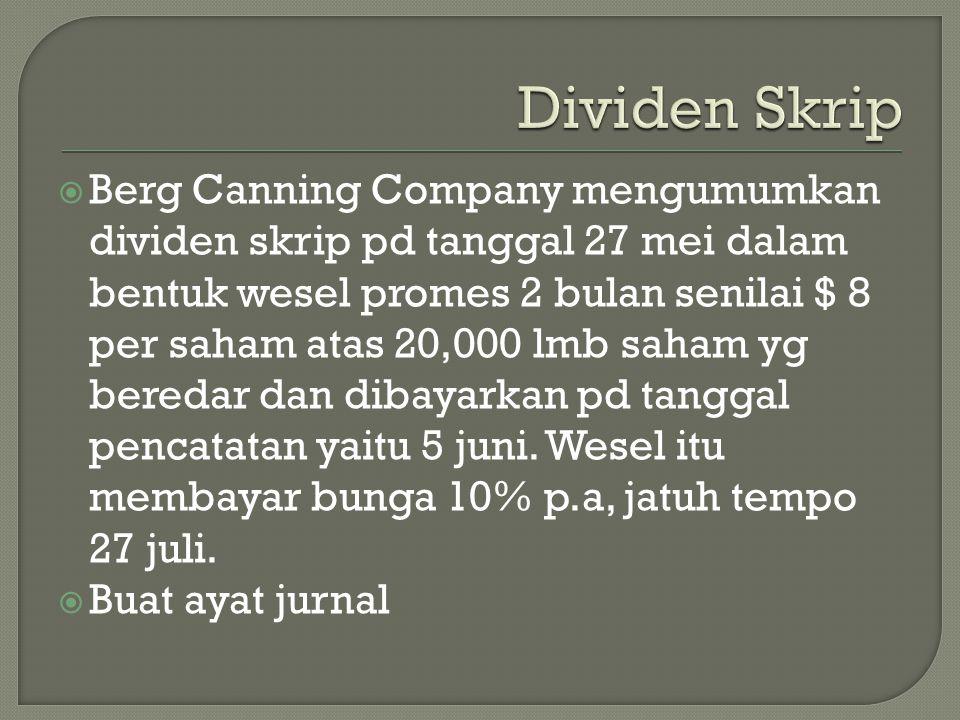  Berg Canning Company mengumumkan dividen skrip pd tanggal 27 mei dalam bentuk wesel promes 2 bulan senilai $ 8 per saham atas 20,000 lmb saham yg be