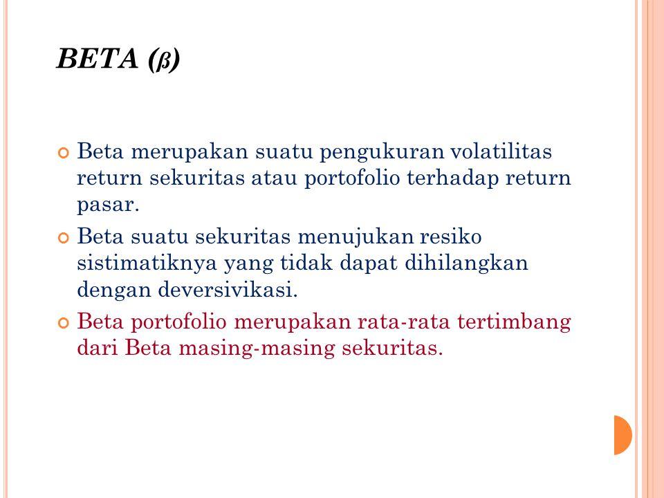 BETA ( ß ) Beta merupakan suatu pengukuran volatilitas return sekuritas atau portofolio terhadap return pasar. Beta suatu sekuritas menujukan resiko s