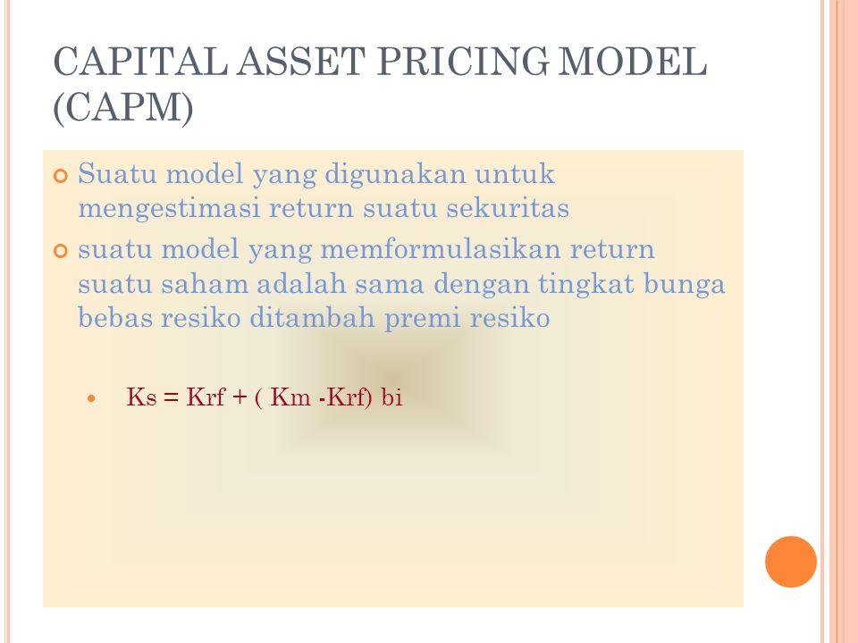 CAPITAL ASSET PRICING MODEL (CAPM) Suatu model yang digunakan untuk mengestimasi return suatu sekuritas suatu model yang memformulasikan return suatu saham adalah sama dengan tingkat bunga bebas resiko ditambah premi resiko Ks Ks = Krf + ( Km -Krf) bi