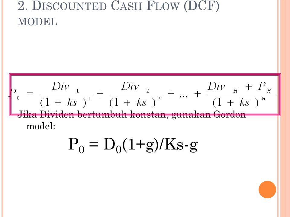 2. D ISCOUNTED C ASH F LOW (DCF) MODEL Jika Dividen bertumbuh konstan, gunakan Gordon model: P 0 = D 0 (1+g)/Ks-g