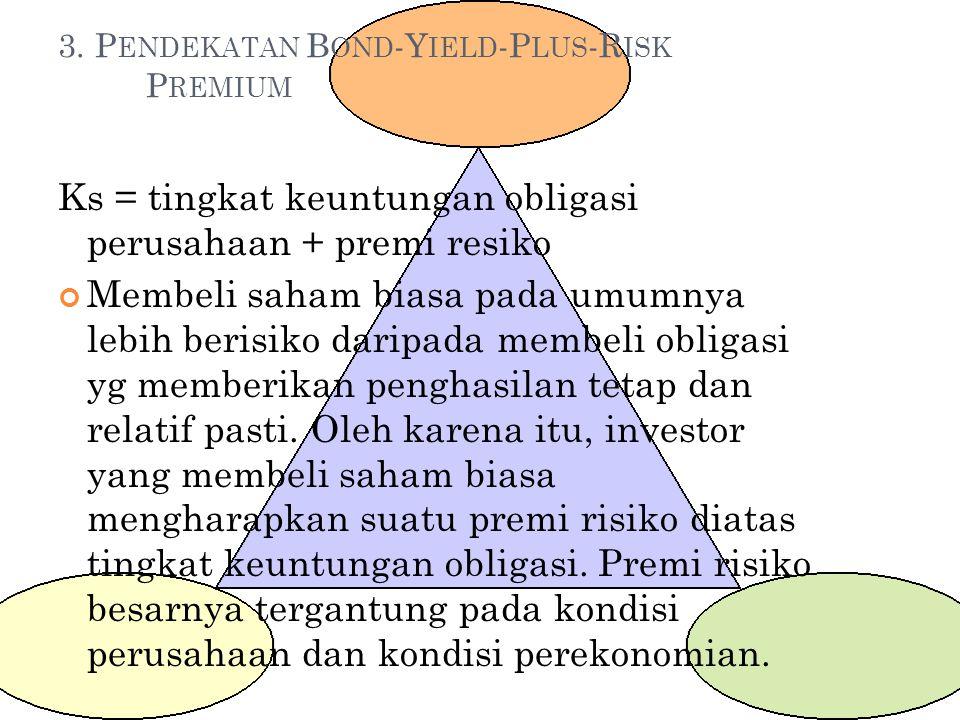 3. P ENDEKATAN B OND -Y IELD -P LUS -R ISK P REMIUM Ks = tingkat keuntungan obligasi perusahaan + premi resiko Membeli saham biasa pada umumnya lebih