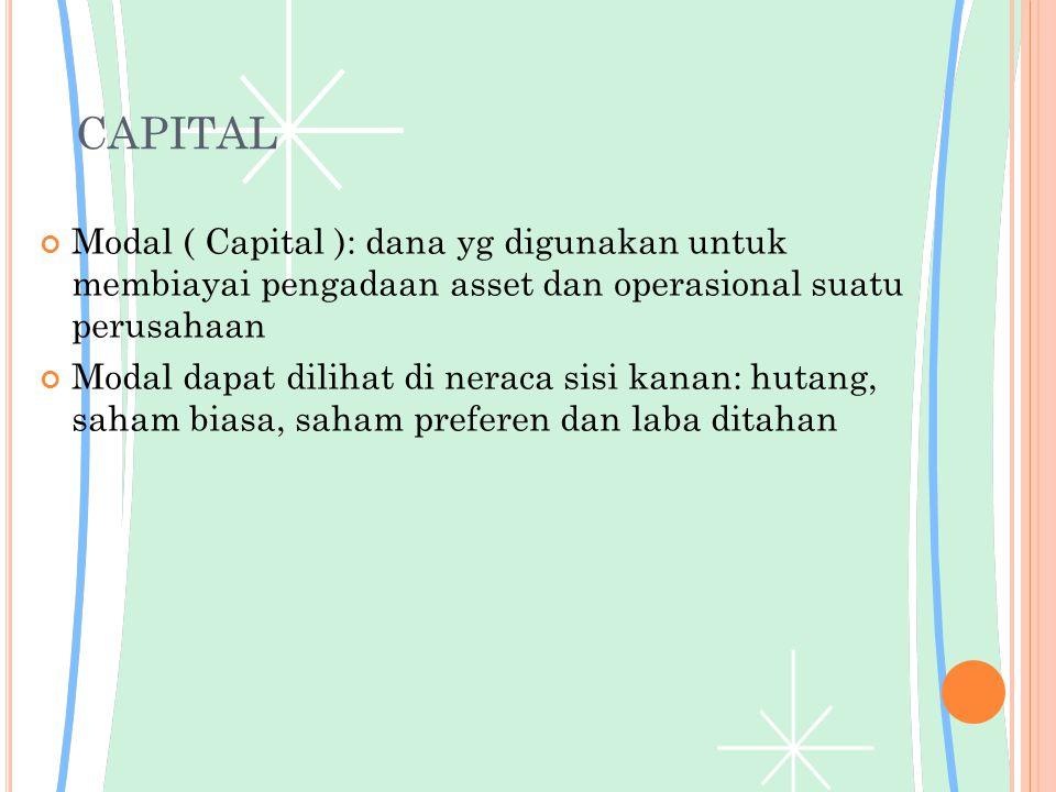 CAPITAL Modal ( Capital ): dana yg digunakan untuk membiayai pengadaan asset dan operasional suatu perusahaan Modal dapat dilihat di neraca sisi kanan: hutang, saham biasa, saham preferen dan laba ditahan