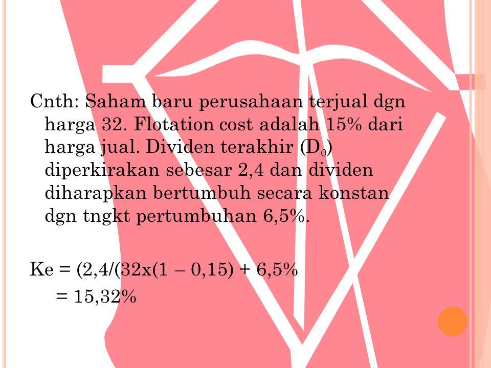 Cnth: Saham baru perusahaan terjual dgn harga 32. Flotation cost adalah 15% dari harga jual. Dividen terakhir (D 0 ) diperkirakan sebesar 2,4 dan divi