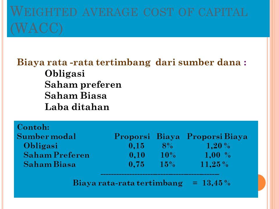 W EIGHTED AVERAGE COST OF CAPITAL (WACC) Biaya rata -rata tertimbang dari sumber dana : Obligasi Saham preferen Saham Biasa Laba ditahan Contoh: Sumbe