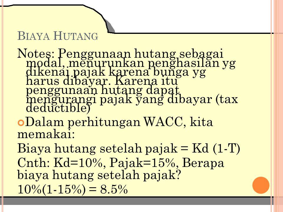 B IAYA S AHAM P REFEREN (K P ) Biaya saham preferen = tingkat keuntungan yg dinikmati pembeli saham preferen (Kp) Kp= Dp Pn Dp=dividen saham preferen tahunan Pn=harga saham preferen bersih yg diterima perusahaan penerbit (setelah dikurangi biaya peluncuran saham atau flotation cost) Dividen saham preferen tidak tax deductible, perusahaan menanggung semua beban biaya.