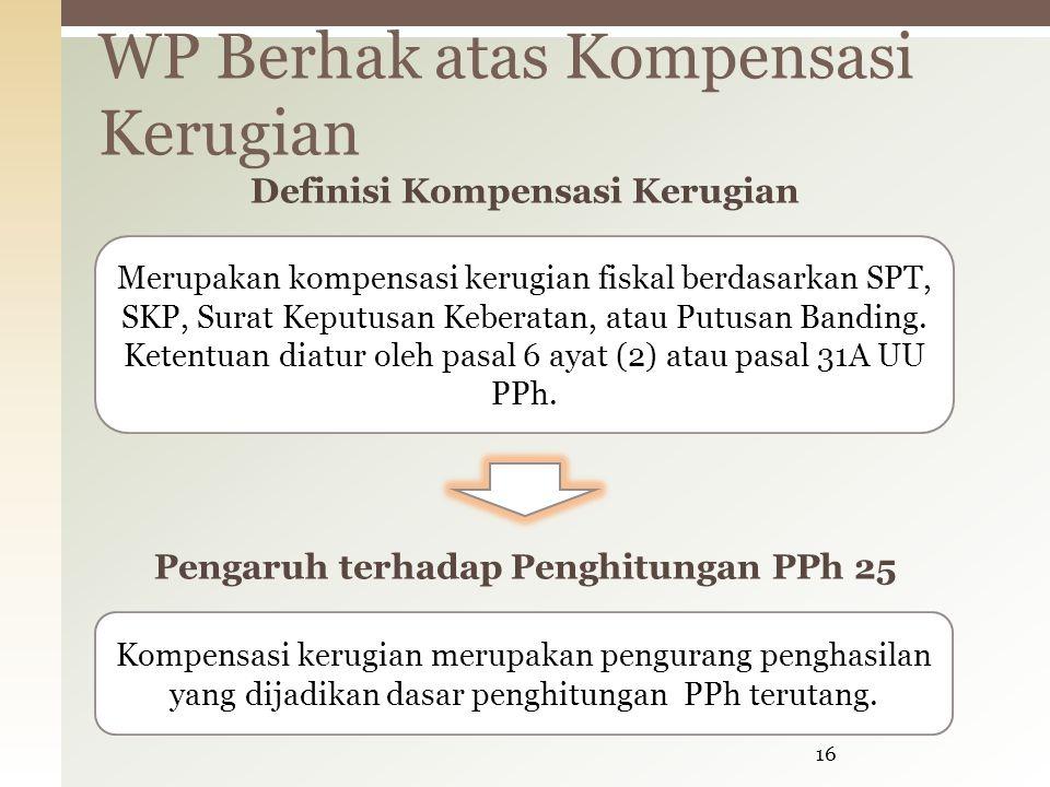 WP Berhak atas Kompensasi Kerugian 16 Merupakan kompensasi kerugian fiskal berdasarkan SPT, SKP, Surat Keputusan Keberatan, atau Putusan Banding.