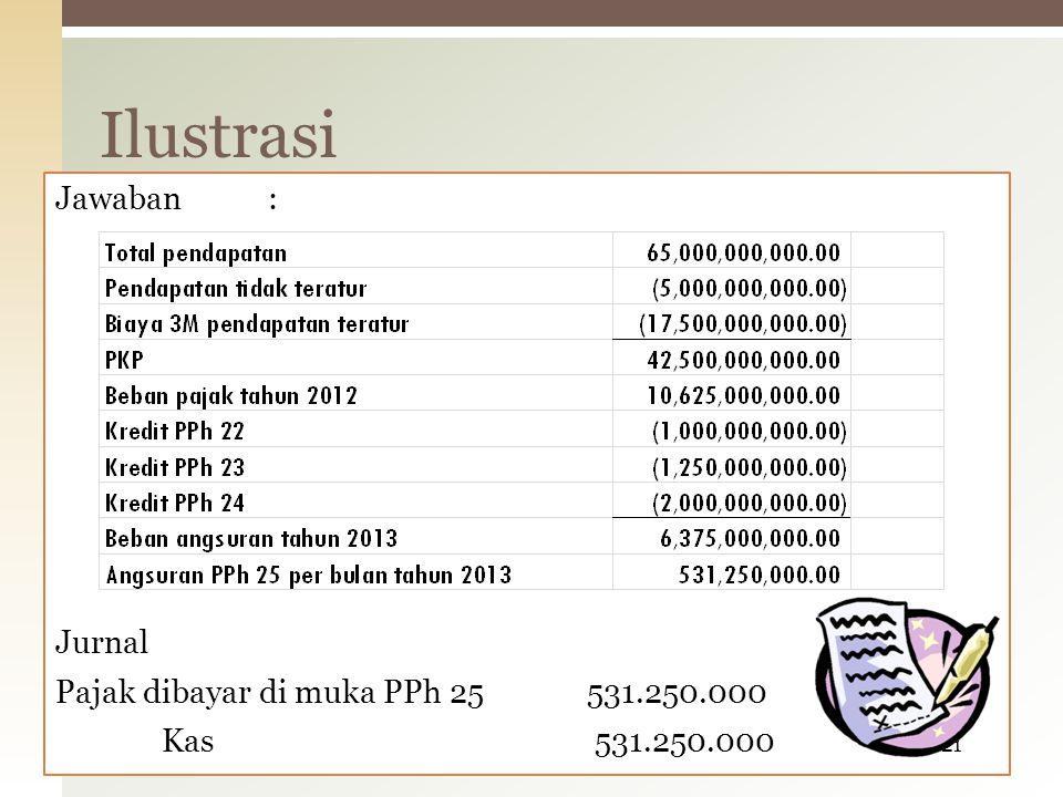 Jawaban: Jurnal Pajak dibayar di muka PPh 25531.250.000 Kas 531.250.000 Ilustrasi 21