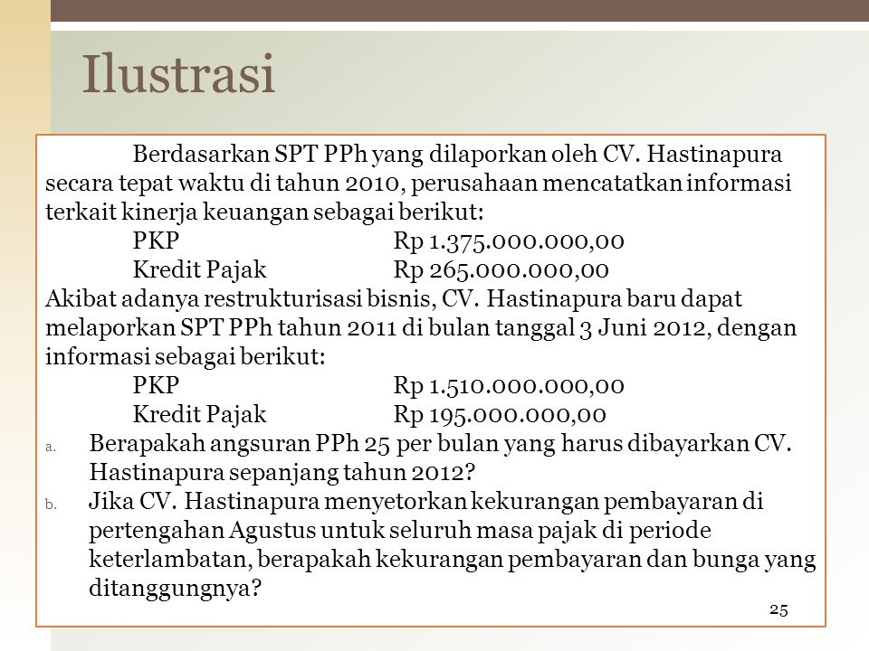 Berdasarkan SPT PPh yang dilaporkan oleh CV.