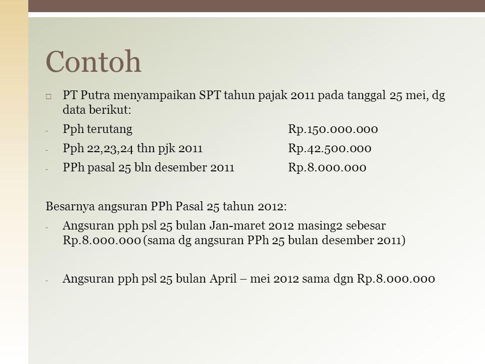  PT Putra menyampaikan SPT tahun pajak 2011 pada tanggal 25 mei, dg data berikut: - Pph terutangRp.150.000.000 - Pph 22,23,24 thn pjk 2011Rp.42.500.0