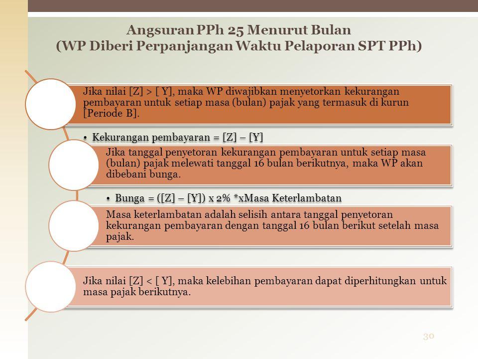 Jika nilai [Z] > [ Y], maka WP diwajibkan menyetorkan kekurangan pembayaran untuk setiap masa (bulan) pajak yang termasuk di kurun [Periode B].