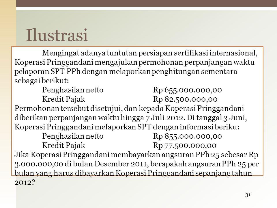 Mengingat adanya tuntutan persiapan sertifikasi internasional, Koperasi Pringgandani mengajukan permohonan perpanjangan waktu pelaporan SPT PPh dengan melaporkan penghitungan sementara sebagai berikut: Penghasilan nettoRp 655.000.000,00 Kredit PajakRp 82.500.000,00 Permohonan tersebut disetujui, dan kepada Koperasi Pringgandani diberikan perpanjangan waktu hingga 7 Juli 2012.