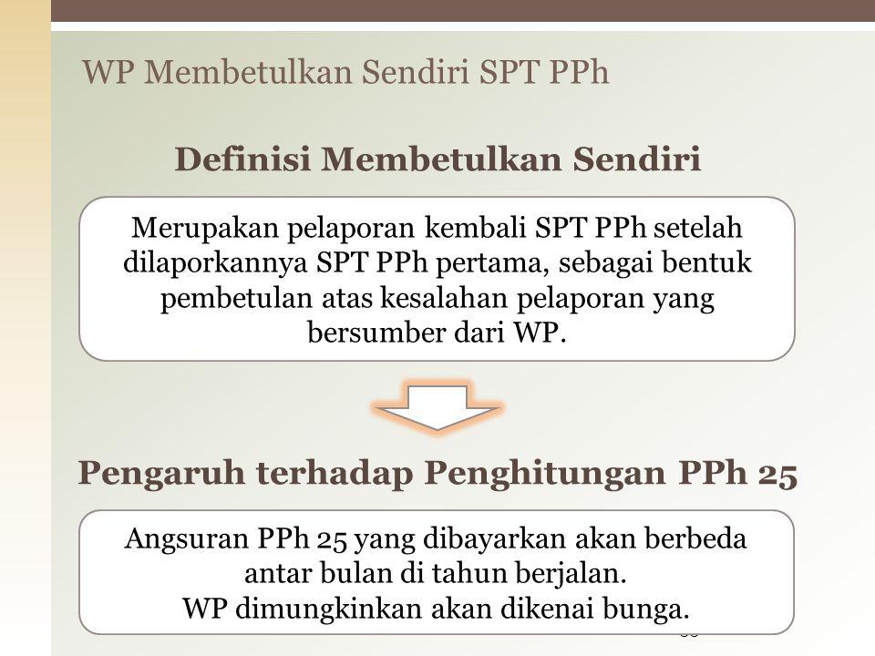 WP Membetulkan Sendiri SPT PPh 33 Merupakan pelaporan kembali SPT PPh setelah dilaporkannya SPT PPh pertama, sebagai bentuk pembetulan atas kesalahan pelaporan yang bersumber dari WP.