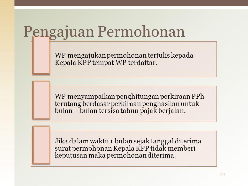 WP mengajukan permohonan tertulis kepada Kepala KPP tempat WP terdaftar. WP menyampaikan penghitungan perkiraan PPh terutang berdasar perkiraan pengha