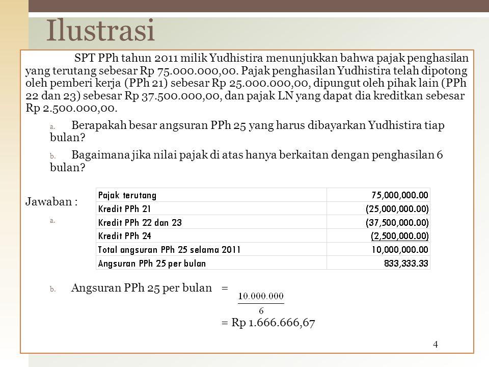 SPT PPh tahun 2011 milik Yudhistira menunjukkan bahwa pajak penghasilan yang terutang sebesar Rp 75.000.000,00. Pajak penghasilan Yudhistira telah dip