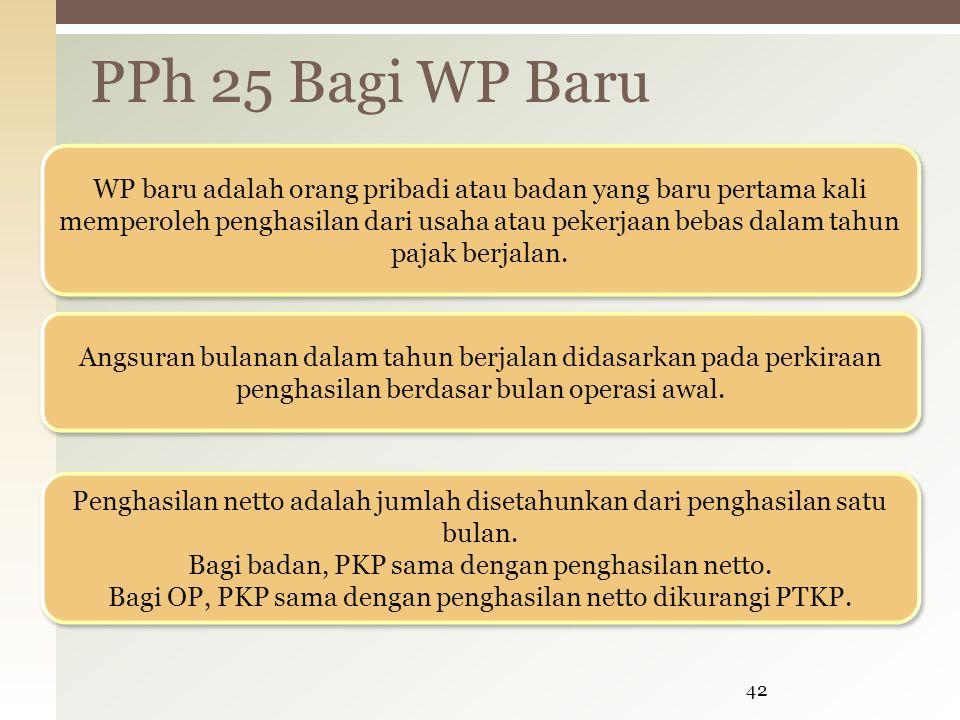 PPh 25 Bagi WP Baru 42 WP baru adalah orang pribadi atau badan yang baru pertama kali memperoleh penghasilan dari usaha atau pekerjaan bebas dalam tah