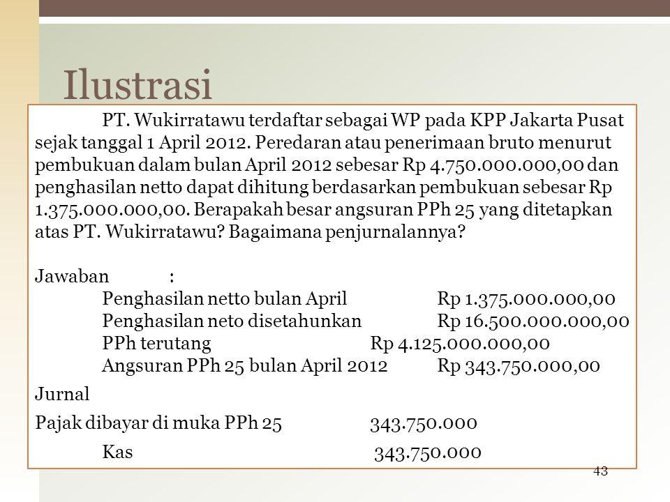 PT. Wukirratawu terdaftar sebagai WP pada KPP Jakarta Pusat sejak tanggal 1 April 2012. Peredaran atau penerimaan bruto menurut pembukuan dalam bulan