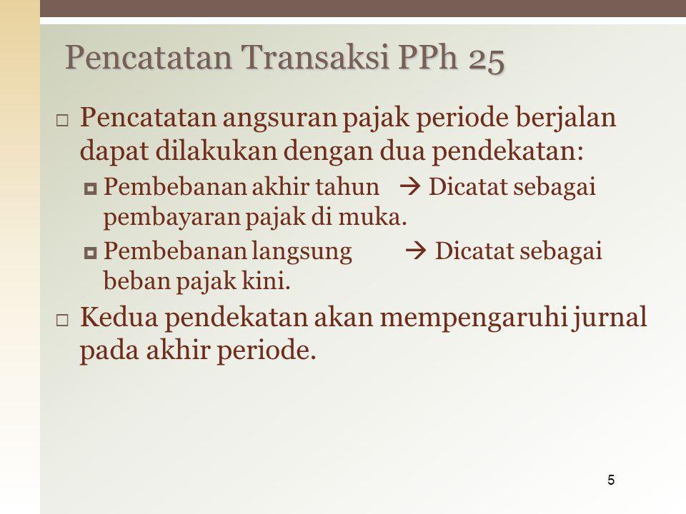  PT Putra menyampaikan SPT tahun pajak 2011 pada tanggal 25 mei, dg data berikut: - Pph terutangRp.150.000.000 - Pph 22,23,24 thn pjk 2011Rp.42.500.000 - PPh pasal 25 bln desember 2011Rp.8.000.000 Besarnya angsuran PPh Pasal 25 tahun 2012: - Angsuran pph psl 25 bulan Jan-maret 2012 masing2 sebesar Rp.8.000.000 (sama dg angsuran PPh 25 bulan desember 2011) - Angsuran pph psl 25 bulan April – mei 2012 sama dgn Rp.8.000.000 Contoh