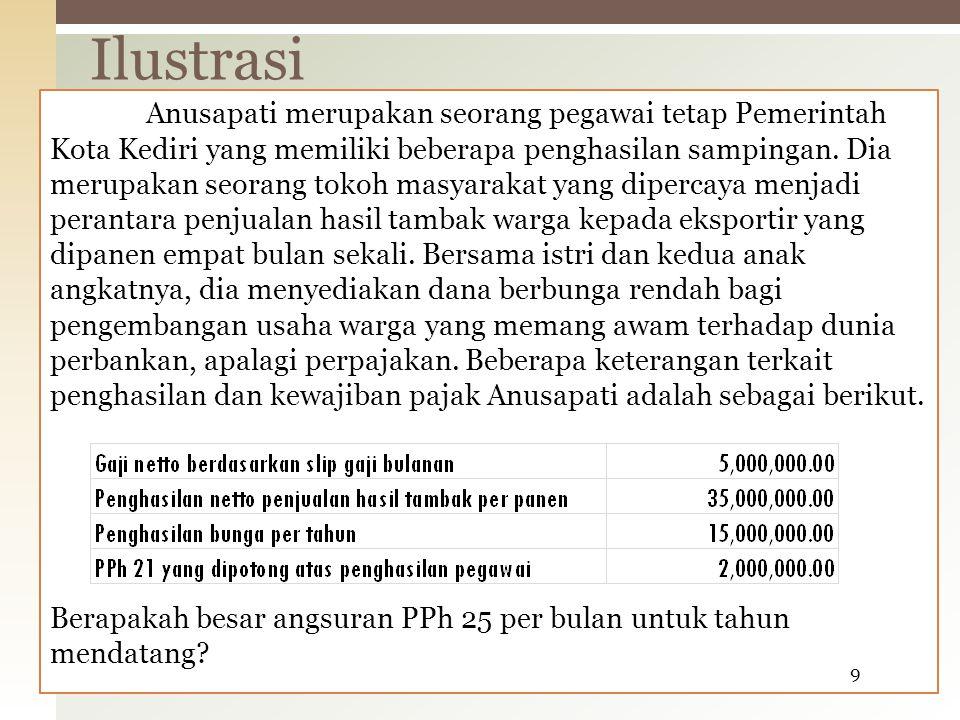 Jawaban: Penghitungan angsuran PPh 25 per bulan. Ilustrasi 10