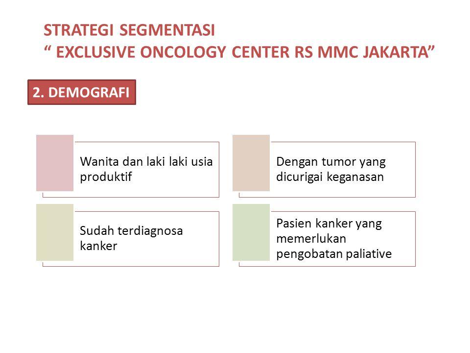 """STRATEGI SEGMENTASI """" EXCLUSIVE ONCOLOGY CENTER RS MMC JAKARTA"""" 2. DEMOGRAFI Wanita dan laki laki usia produktif Dengan tumor yang dicurigai keganasan"""