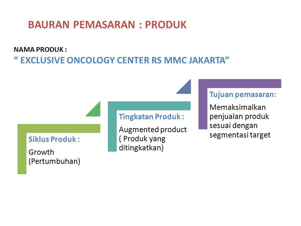 "BAURAN PEMASARAN : PRODUK NAMA PRODUK : "" EXCLUSIVE ONCOLOGY CENTER RS MMC JAKARTA"" Siklus Produk : Growth (Pertumbuhan) Tingkatan Produk : Augmented"
