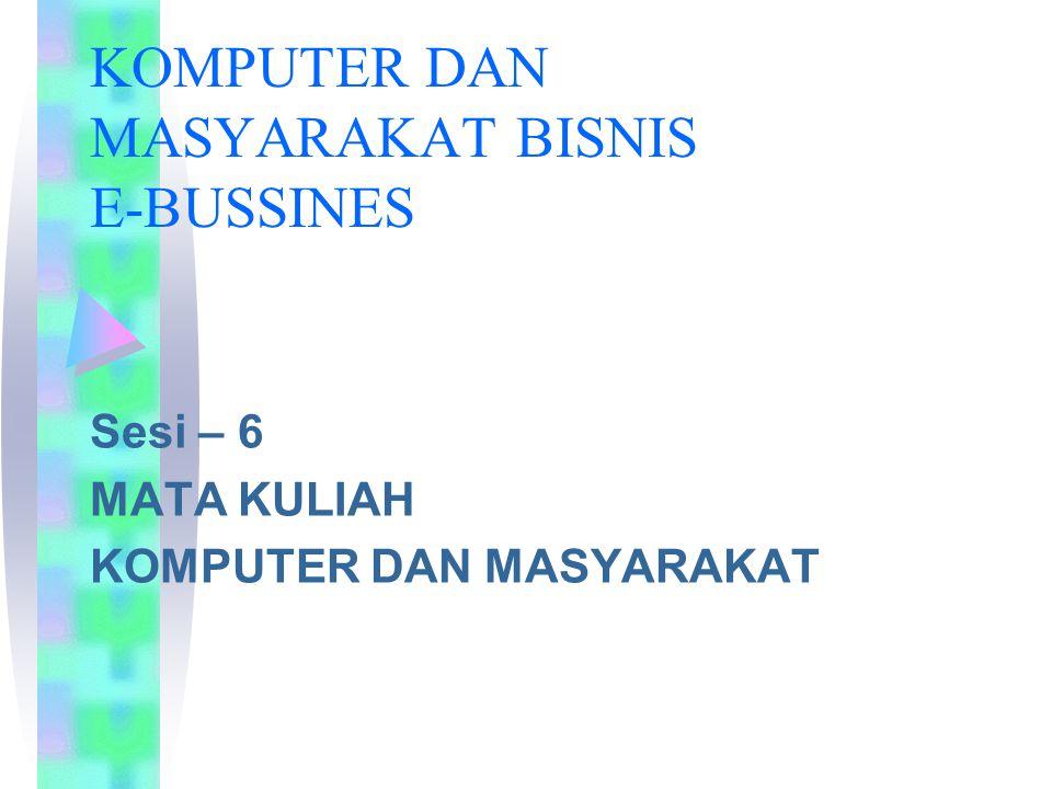 Pasar Indonesia yang besar Potensi –Jumlah penduduk Indonesia yang besar –Masih banyak yang belum terjangkau oleh Internet Jumlah pengguna Internet masih sekitar 30 juta orang –Market belum saturasi –Rentang fisik yang lebar merupakan potensi e-commerce