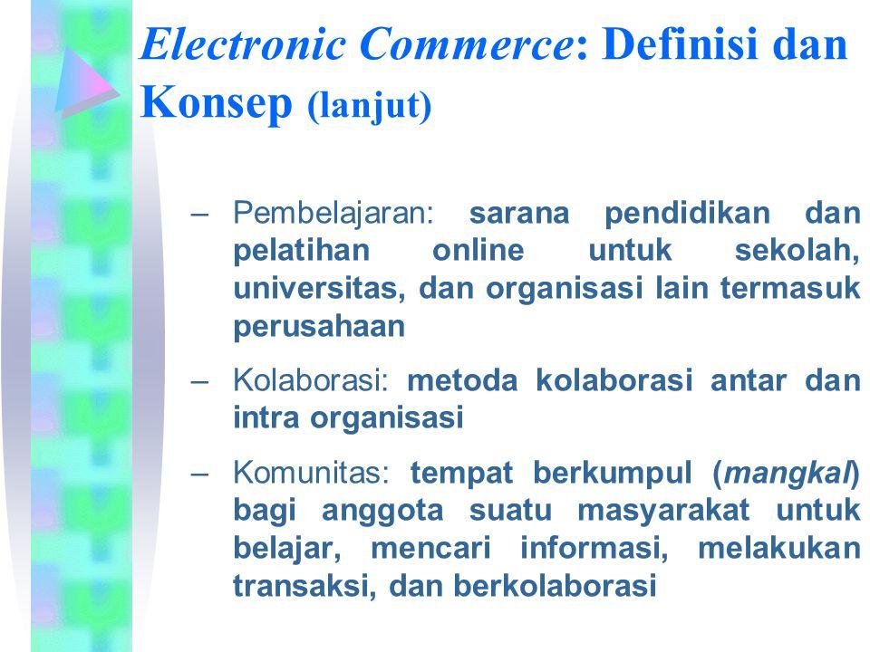 Electronic Commerce: Definisi dan Konsep (lanjut) –Pembelajaran: sarana pendidikan dan pelatihan online untuk sekolah, universitas, dan organisasi lai