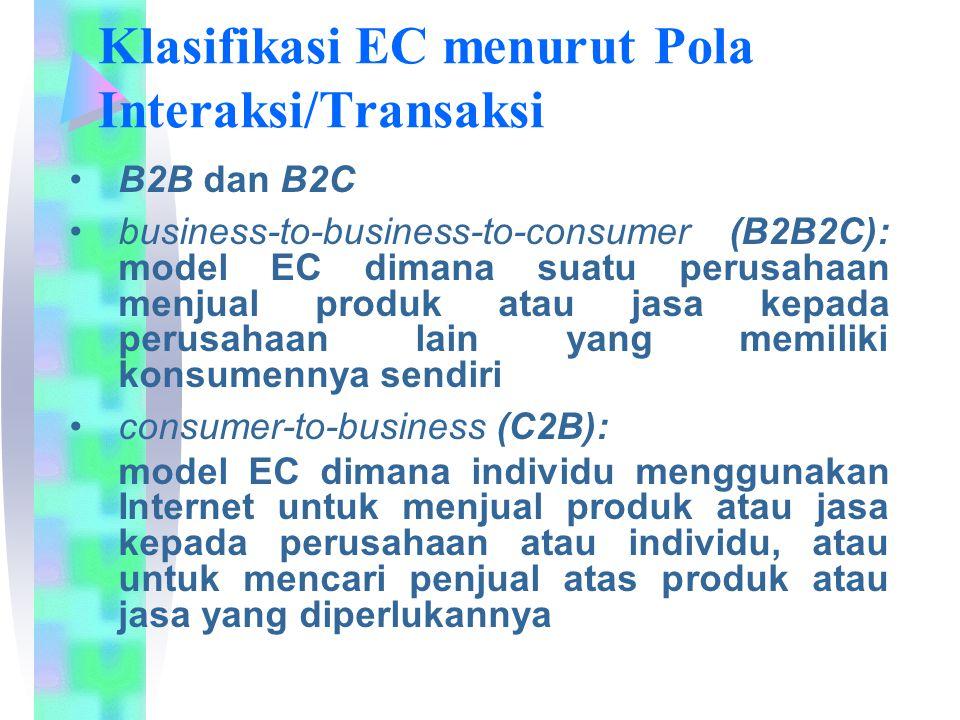 Klasifikasi EC menurut Pola Interaksi/Transaksi B2B dan B2C business-to-business-to-consumer (B2B2C): model EC dimana suatu perusahaan menjual produk