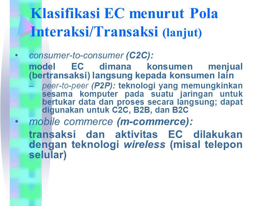 Klasifikasi EC menurut Pola Interaksi/Transaksi (lanjut) consumer-to-consumer (C2C): model EC dimana konsumen menjual (bertransaksi) langsung kepada k