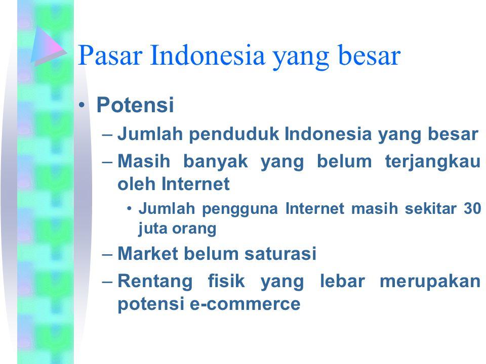 Pasar Indonesia yang besar Potensi –Jumlah penduduk Indonesia yang besar –Masih banyak yang belum terjangkau oleh Internet Jumlah pengguna Internet ma