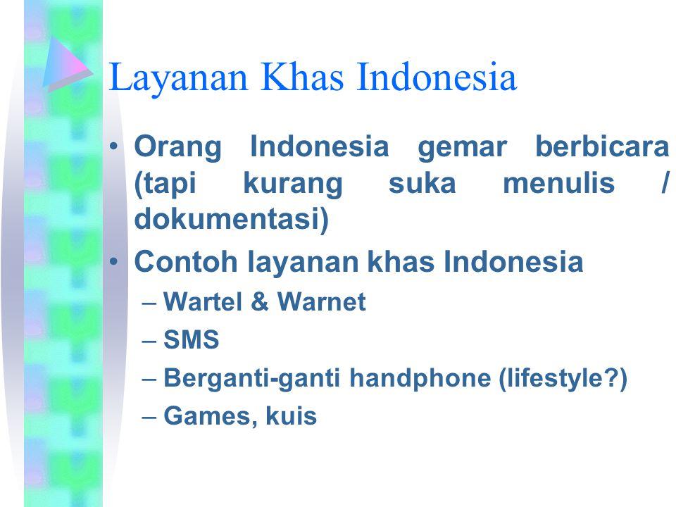 Layanan Khas Indonesia Orang Indonesia gemar berbicara (tapi kurang suka menulis / dokumentasi) Contoh layanan khas Indonesia –Wartel & Warnet –SMS –B