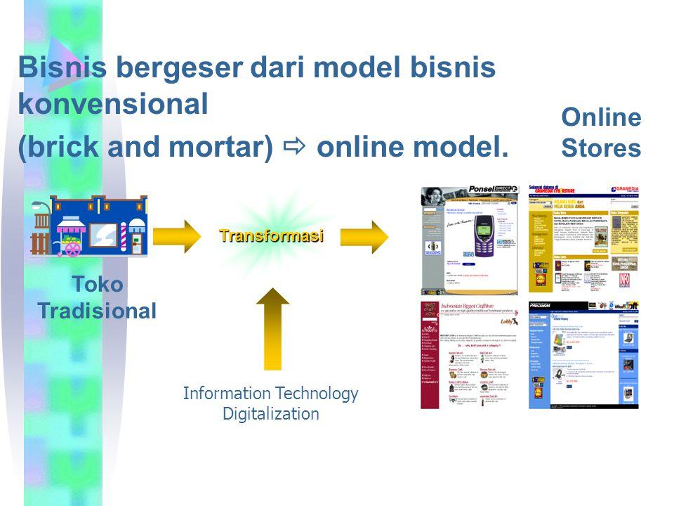 Transformasi Bisnis bergeser dari model bisnis konvensional (brick and mortar)  online model. Toko Tradisional Online Stores Information Technology D