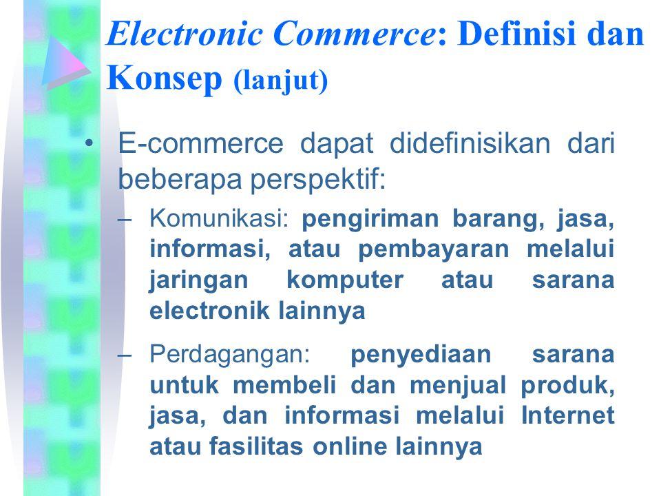 Electronic Commerce: Definisi dan Konsep (lanjut) E-commerce dapat didefinisikan dari beberapa perspektif: –Komunikasi: pengiriman barang, jasa, infor
