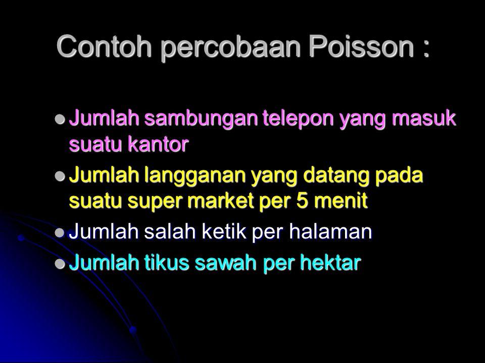Contoh percobaan Poisson : Jumlah sambungan telepon yang masuk suatu kantor Jumlah sambungan telepon yang masuk suatu kantor Jumlah langganan yang dat