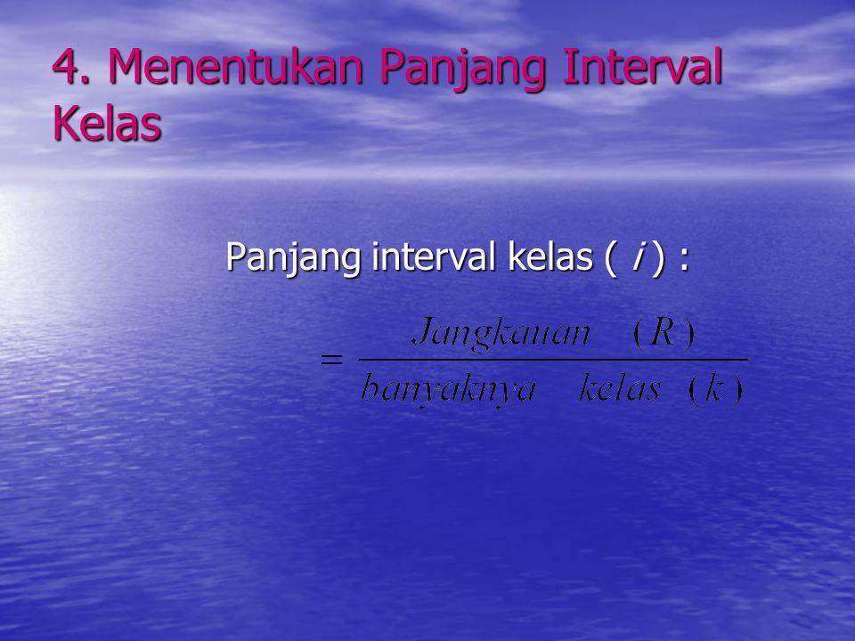 3. Menentukan banyaknya kelas k = 1 + 3,322 log n k = banyaknya kelas n = banyaknya data Hasilnya dibulatkan, biasanya ke atas Dalam menentukan banyak