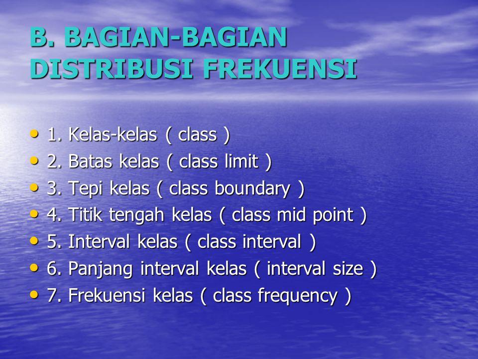 B.BAGIAN-BAGIAN DISTRIBUSI FREKUENSI 1. Kelas-kelas ( class ) 1.